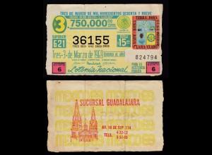 Guadalajara Mexico Tres 3.de Marzo de 1969 Lotterie Los 15 Pesos (16453