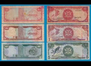 Trinidat & Tobago 3 Stück Banknoten gebraucht (18316