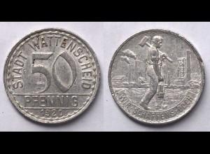 50 Pfennig Notgeld Münze Wattenscheid Bergbau 1920 Alu (21947