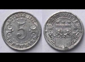 5 Pfennig Notgeld Münze Witten 1920 Alu (21950