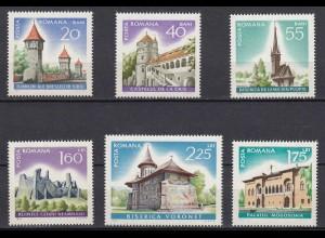RUMÄNIEN - ROMANIA - 1967 Architektur Bauwerke Kirchen Mi.2600-05 postfr.