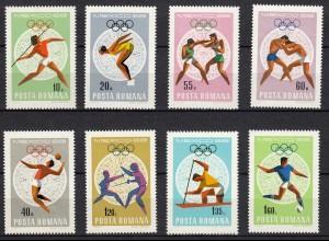 Romania 1968 Olympics Mexico Sc 2030-2037 set mint never hinged (22103