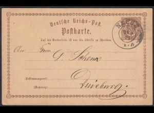 Deutsches Reich - Ganzsache P 1 1/2 Groschen Brustschild 1879 Neuss n.Duisburg