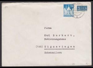 Alliierte Bes. Bauten 1948 20 Pfg.Mi.84 Einzelfrankatur auf Brief (22125