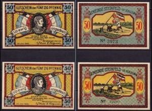 Schleswig Holstein - Steinfeld 2 x 50 Pfennig 4- + 5-stellig Notgeld 1920(ca496