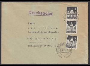 Alliierte Bes. Bauten 2 Pfg. Mehrfachfrankatur 1951 auf Drucksache (22133