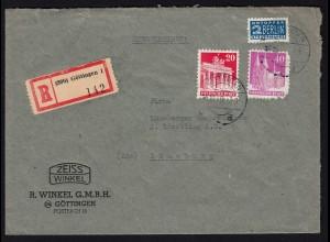 Alliierte Bes. Bauten 20 + 40 Pfg. Mischfrankatur 1949 auf R-Bedarfsbrief
