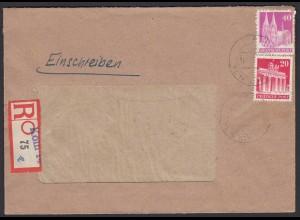 Alliierte Bes. Bauten 20 + 40 Pfg. Mif 1950 R-Bedarfsbrief Sonder-R-Zettel