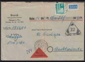Alliierte Bes. Bauten 50 Pfg. Einzelfrankatur 1951 NN-Brief (22137