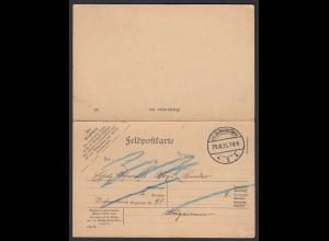 DR Feldpost-Karte mit Antwortkarte Doppelkarte 1915 (22152