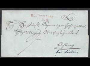 Baden - R2 CONSTANZ Stempel rot klar auf schönem Porto Brief (22162