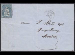 Schweiz - Lausanne 1862 10 R. Mi.14 Brief nach Moudon (22168