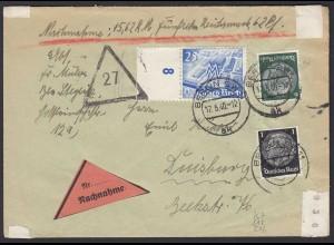 3.Reich 1940 Nachnahme Brief Berlin nach Duisburg Mi. 767, 512 + 516 (22173