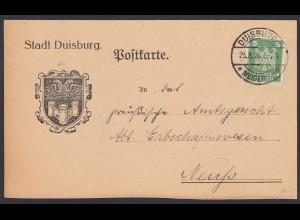 Stadt Duisburg Postkarte 1926 von Meidrich nach Neuss (22178