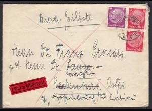 3.Reich Eilboten Brief 1940 Mif. Hindenburg 12 + 40 Pfg Ak.Seckenburg (22200