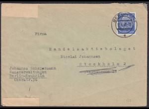 3.Reich 1940 25 Pf. Hindenburg Zensur Einzelfrankatur nach Stockholm (22206