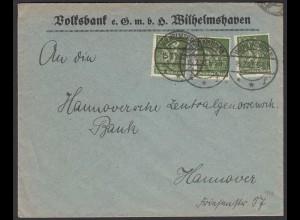 Wilhelmshaven 1922 Infla Brief Mehrfachfrankatur 187 n.Hannover (22217