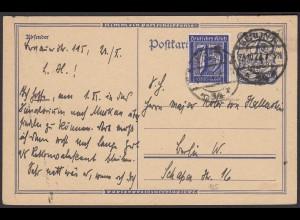 Infla Ganzsache 1922 m.Zusatzfrankatur Mi.185 geprüft Infla (22222