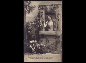 AK Jugendstil Gretchen Spruch Gedicht (b412