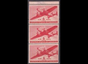 USA postfrisches HBL Heftchenblatt 25 mit Mi. 500 Postflugzeug 1941 (22527
