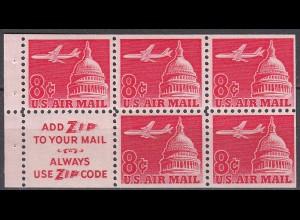 USA postfrisches HBL Heftchenblatt 36x mit Mi.836x DC-8 ü.Kapitol 1962
