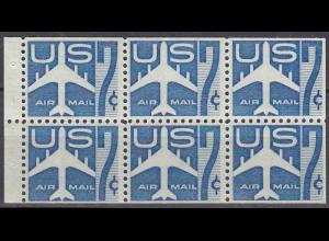 USA postfrisches HBL 29 Heftchenblatt mit Mi.732 Verkehrsflugzeug 1960 (22529