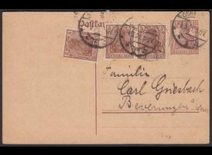 Deutsches Reich Infla Karte Ganzsache mit Zusatzfrankatur 1921 (22225