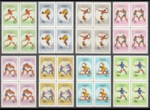 RUMÄNIEN - ROMANIA - 1968 Olympiade Mi. 2697-04 postfr.4er Blocks (22549