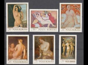 RUMÄNIEN - ROMANIA - 1969 Akt-Gemälde Mi. 2755-60 postfrisch (22554