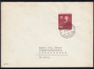 Liechtenstein 27.4.1943 Brief Triesenberg n.Diepoldsau Mi.212 (22695