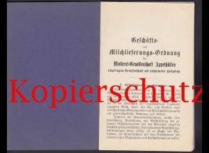 Nottuln Appelhülsen Molkerei Geschäfts u.Milchlieferungs-Ordnung um 1900