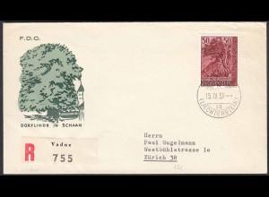 Liechtenstein 15.4.1959 R-FDC nach Zürich Mi. 378 (22698