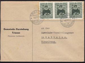 Liechtenstein 1953 Brief Triesen - Satteins Mi. 311 3er Streifen (22703
