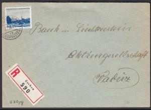 Liechtenstein 1941 R-Brief Eschen - Vaduz Mi. 230 Einzelfrankatur (22711