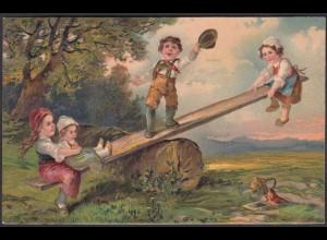 AK Prägedruck Embosset Kinder Mädchen Schaukel wunderschöne Karte (22673