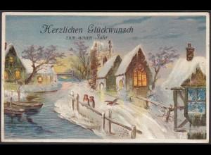 AK Prägedruck Embosset Neujahr Winter Vögel Schnee (22676