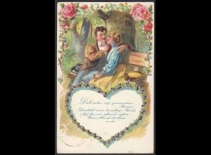AK Prägedruck Embosset Liebe Treue Wald Rosen 1906 (22682