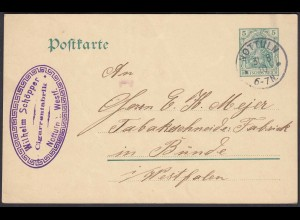 Zigarrenfabrik Schöpper Nottuln Postkarte nach Bünde 1910 (22687