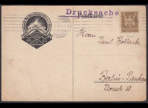 Reklame Reichsanzeiger Postkarte Ludwigshafen nach Pankow 1924 (22690