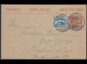 Oberschlesien 10 Pf. Ganzsache m.Zusatzfrankatur 1920 Kattowitz (22766
