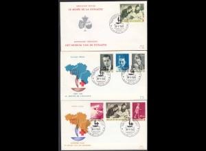 Belgien - Belgium 1963 FDC 100 J. Rotes Kreuz Mi.1322-28 (1326 doppelt) (22776