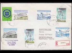 Belgien - Belgium 1960 R-Satz-Brief Fallschirmspringen Mi.1190-95 (22778
