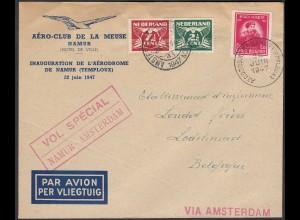 Belgien-Niederlande 1947 Aero-Club Special Flug Namur-Amsterdam + zurück
