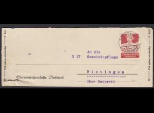 Oberamtskasse Rottweil Briefstück nach Dietingen 1935 (22231