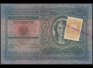 Österreich/Ungarn 100 Kr. Jugoslawien ex Staaten mit Stempel und Briefmarke