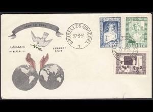 Belgien - Belgium 1951 FDC UNESCO Mi. 884-886 (22806