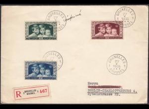 Belgien - Belgium 1935 R-Brief Brüssel-Berlin Mi.396-98 Hilfskomitee (22818