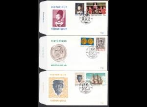 Belgien - Belgium 1973 FDC 3 Stück Geschichte Historie Mi. 1729-34 (22823