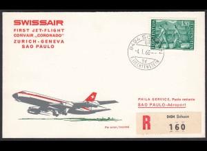 Liechtenstein 1968 SWISSAIR Erstflug Zürich-Genf-Sao Paulo (22825