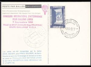 Belgien - Belgium 1958 Ballon-Post CHAQLLENGE COUPE Prägestempel (22828
